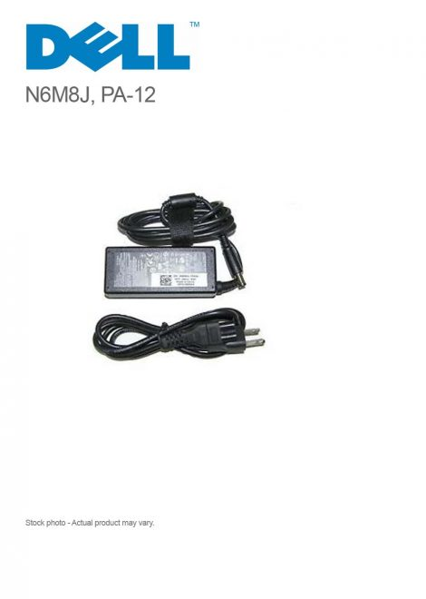 Original 65W 19.5V 3.34A Dell N6M8J AC Adapter Charger with Power Cord